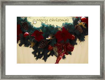 Wreath Garland Greeting Framed Print by DigiArt Diaries by Vicky B Fuller