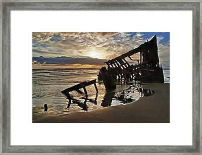 Wreck Of The Peter Iredale Framed Print by Wade Aiken