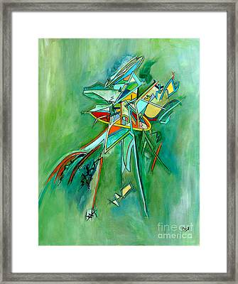 Contemporary Green Colorful Plane Abstract Composition Framed Print by Marie Christine Belkadi