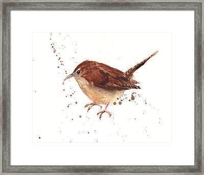 Wren Watercolor Framed Print by Alison Fennell