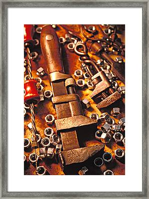 Wrench Tools And Nuts Framed Print by Garry Gay