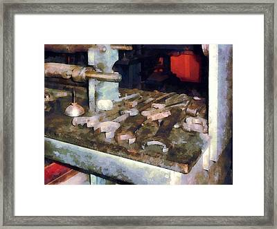 Wrenches And Oil Can Framed Print by Susan Savad