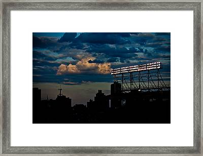 Wrigley Field Light Stand Framed Print