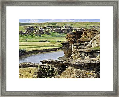 Writing On Stone Framed Print by Margaret Buchanan