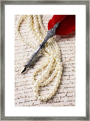 Writing Pen And Perals  Framed Print
