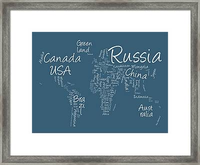 Writing Text Map Of The World Map Framed Print by Michael Tompsett