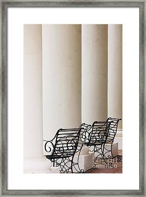 Wrought Iron Chairs And Columns Framed Print by Jeremy Woodhouse