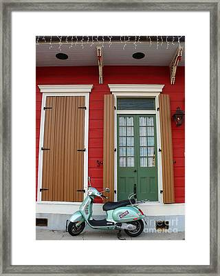 Framed Print featuring the photograph Wwoz Vespa by Jeanne  Woods
