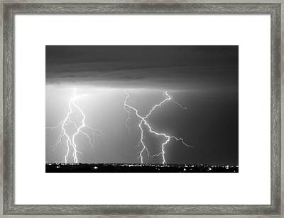X In The Sky In Black And White Framed Print