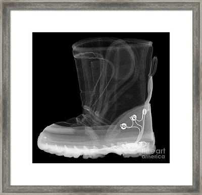 X-ray Of A Childs Light-up Boot Framed Print by Ted Kinsman