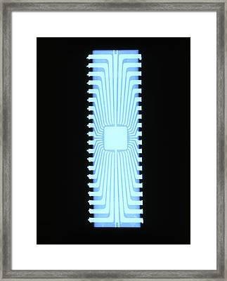 X-ray Of A Silicon Chip From A Teletext Board Framed Print by D. Roberts