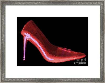 X-ray Of High Heel Shoes Framed Print by Ted Kinsman
