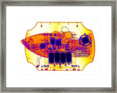 X-ray Of Mechanical Fish Framed Print by Ted Kinsman