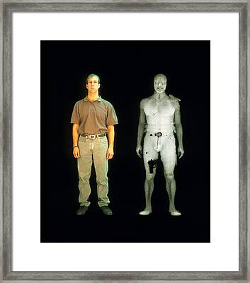 X-ray View Of Man During Bodysearch Surveillance Framed Print by American Science & Engineering