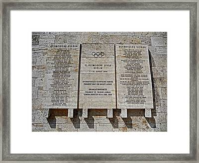 Xi. Olympic Games 1936 - Berlin Framed Print by Juergen Weiss