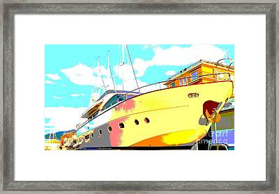 Yacht Dry Docking Framed Print by Rogerio Mariani