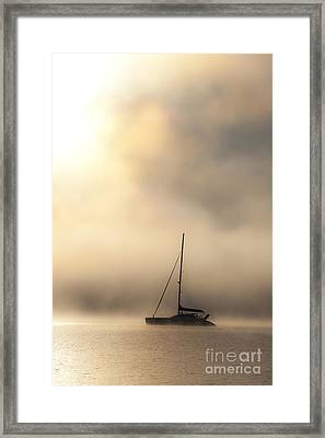 Yacht In Mist Framed Print by Avalon Fine Art Photography