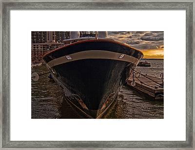 Yacht On The Sunset Framed Print by Alex AG