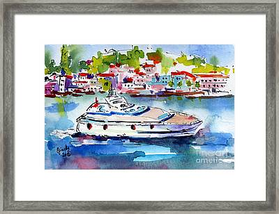 Yachting Off The Coast Of Amalfi Italy Watercolor Framed Print by Ginette Callaway
