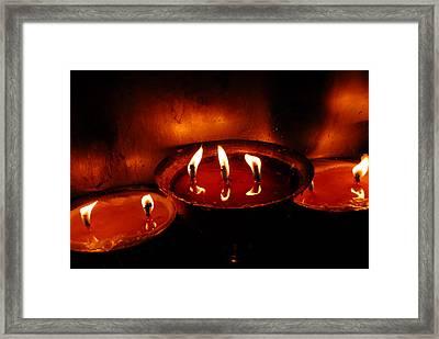 Yak Butter Lamp Framed Print by Marko Moudrak