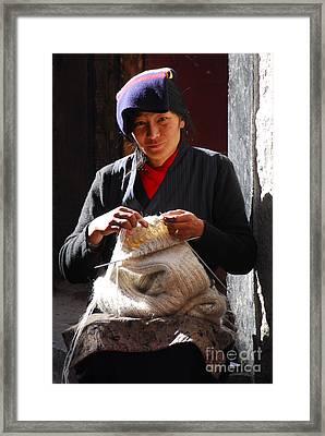 Yak Wool Sweater Weaver Framed Print by Marko Moudrak