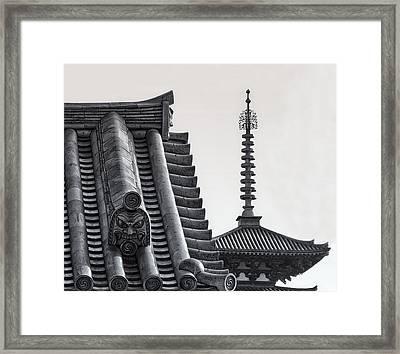 Yakushi-ji Temple Roof Study Framed Print