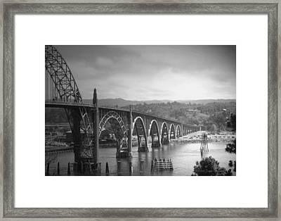 Yaquina Bay Bridge Oregon B And W Framed Print by Joyce Dickens