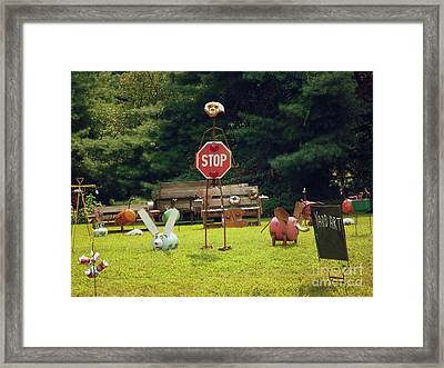 Framed Print featuring the photograph Yard Art Stop by Renee Trenholm