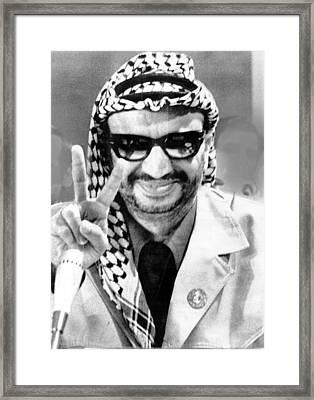 Yasser Arafat Flashes Victory Sign Framed Print by Everett