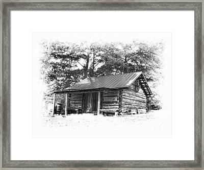 Yates Mill Cabin Black And White Framed Print by Joe Granita