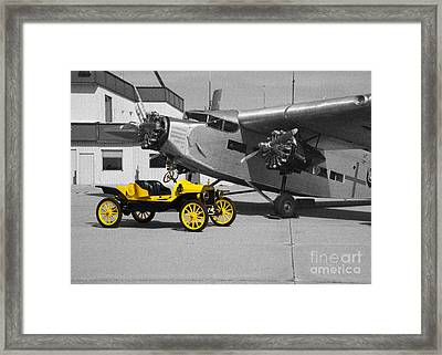 yellow and Black and White Framed Print