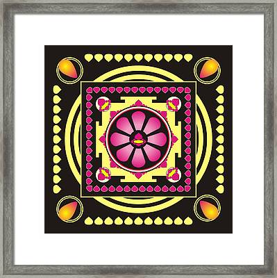 Yellow And Pink Mandala Framed Print by Steeve Dubois