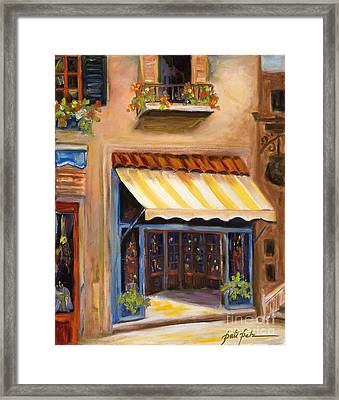 Yellow And White Awning Framed Print
