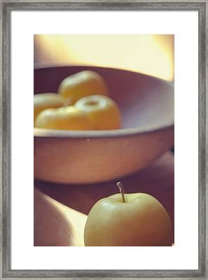 Yellow Apples Framed Print by Toni Hopper