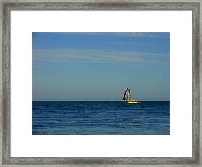 Yellow Boat On The Horizon Framed Print
