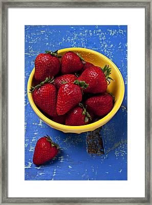 Yellow Bowl Of Strawberries Framed Print by Garry Gay