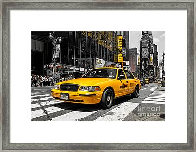 Yellow Cab At The  Times Square Framed Print