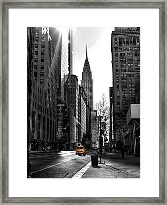 Yellow Cab Framed Print by Bennie Reynolds
