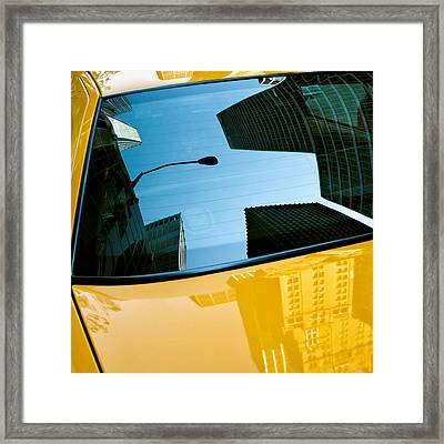 Yellow Cab Big Apple Framed Print by Dave Bowman