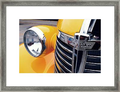 Yellow Chevy Framed Print by Steven Milner