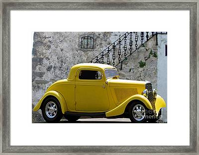 Yellow Coupe Hardtop Framed Print by Jerry L Barrett