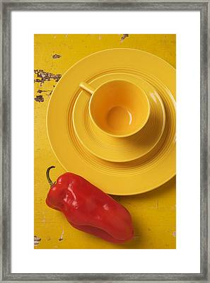 Yellow Cup And Plate Framed Print