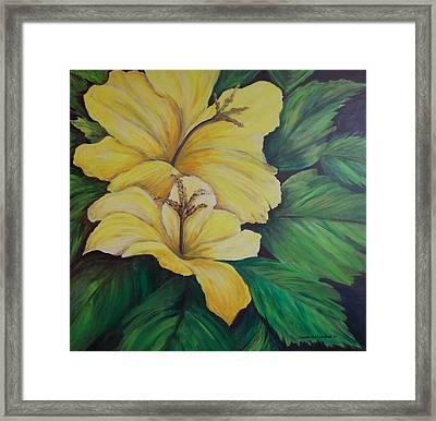 Yellow Diamonds Framed Print by Janna Columbus