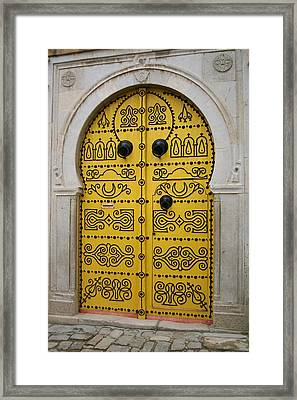 Framed Print featuring the photograph Yellow Door In Bardo by Laurel Talabere