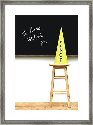 Yellow Dunce Hat On Stool Framed Print