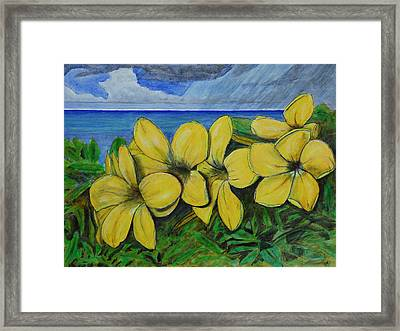 Yellow Flowers And Rain Clouds Framed Print