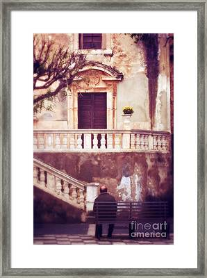 Yellow Flowers In A Vase In Taormina Sicily Framed Print by Silvia Ganora