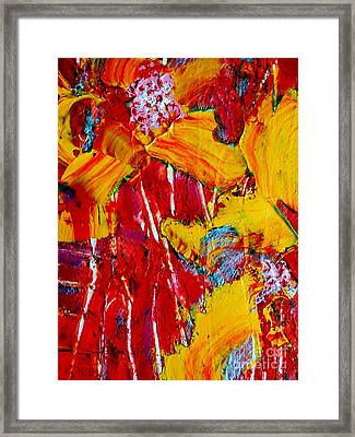 Yellow Flowers On Red Framed Print