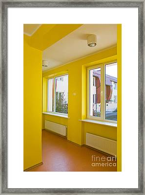 Yellow Hallway Of A School Framed Print