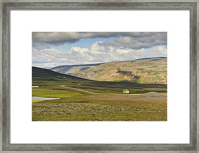 Framed Print featuring the photograph Yellow House In Iceland Landscape by Marianne Campolongo